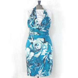 Adrianna Blue Silk Tropical Halter Dress